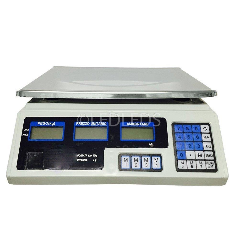 40kg Bilancia digitale professionale con doppio display. Calcola peso e prezzo