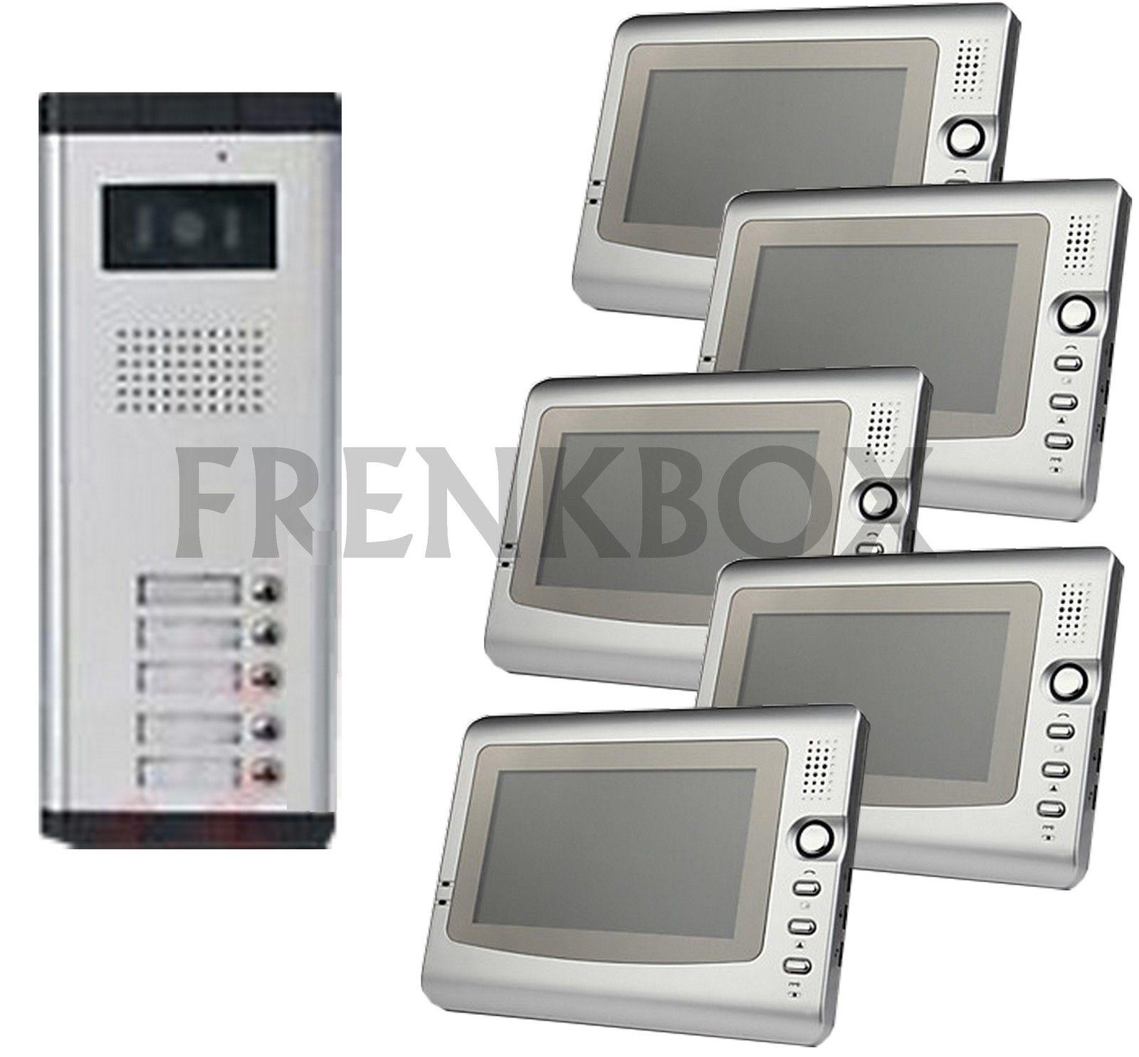 kit videocitofono per condominio 5 monitor e Telecamera 5 tasti