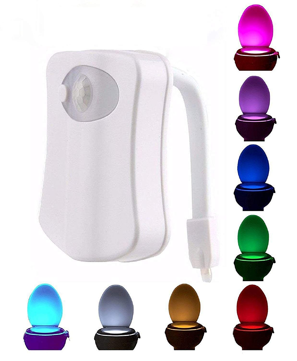 Luce LED per water toilette WC gabinetto con sensore moviento. Batterie incluse.