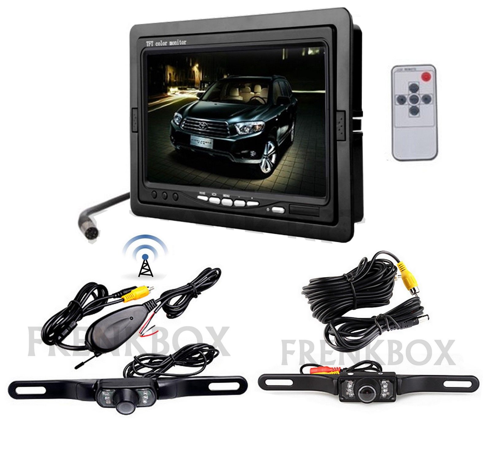 "Kit retromarcia auto camper Monitor 7"" LCD 2 telecamere: wireless e via cavo"