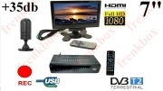 "Kit mini TV LCD 7"" HDMI FULL HD 1080p 12V portatile DVB-T Recorder su USB antenna 35db"