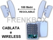 Barriere Microwave anti intrusione.Filare o wireless 433\868mhz  con 20 rilevatori 100m